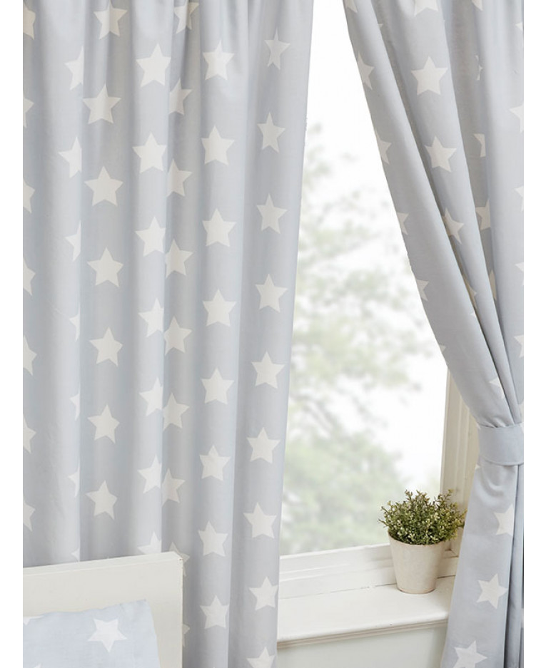Grey And White Stars Lined Curtains