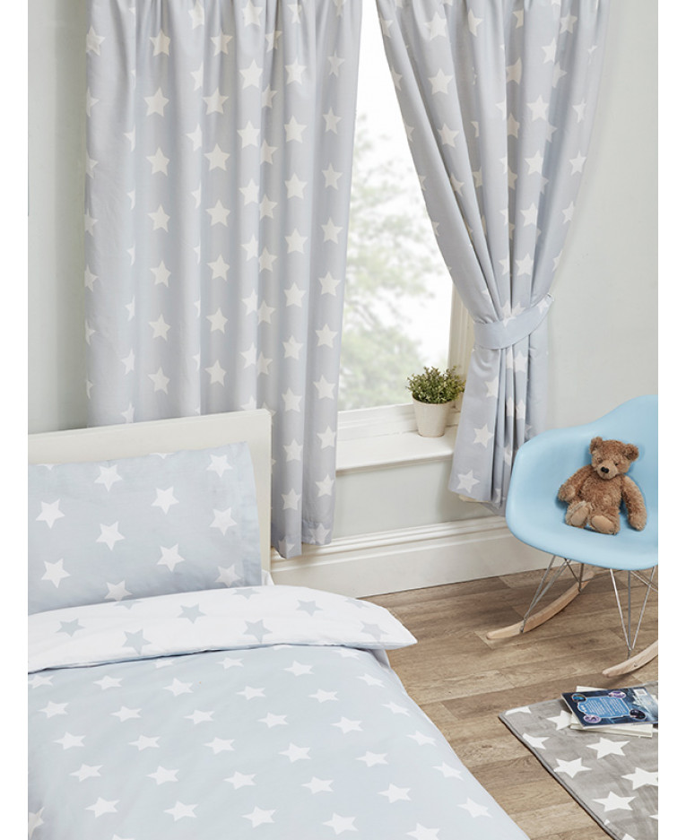 grey and white stars lined curtains bedroom. Black Bedroom Furniture Sets. Home Design Ideas
