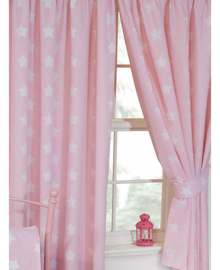 Pink and White Stars Lined Curtains