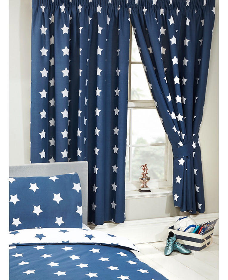 Construction Time Lined Curtains: Navy Blue And White Stars Lined Curtains