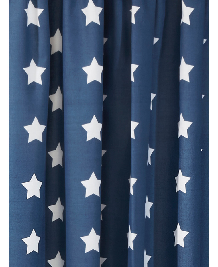 Navy Dark Royal Blue And White Stars Lined Curtains