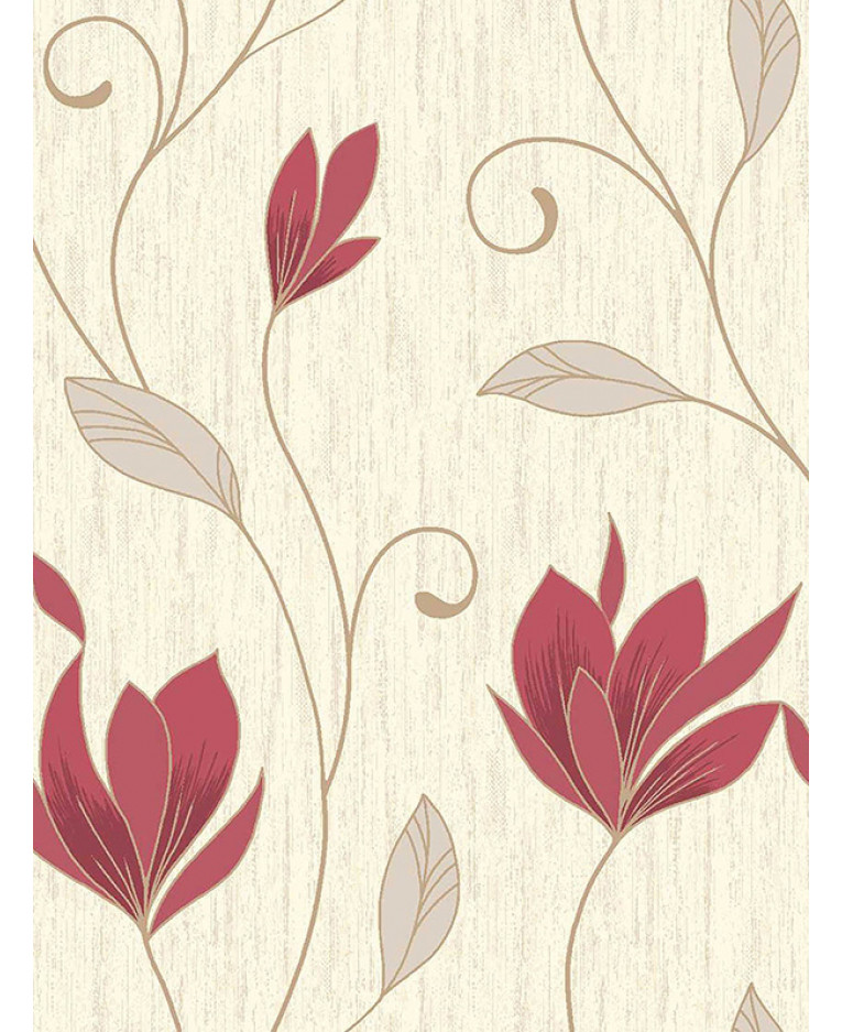 Synergy Floral Glitter Wallpaper Rich Red Vymura M0781