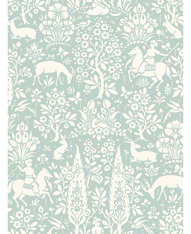 Crown Archives Woodland Wallpaper Duck Egg M1166 Feature