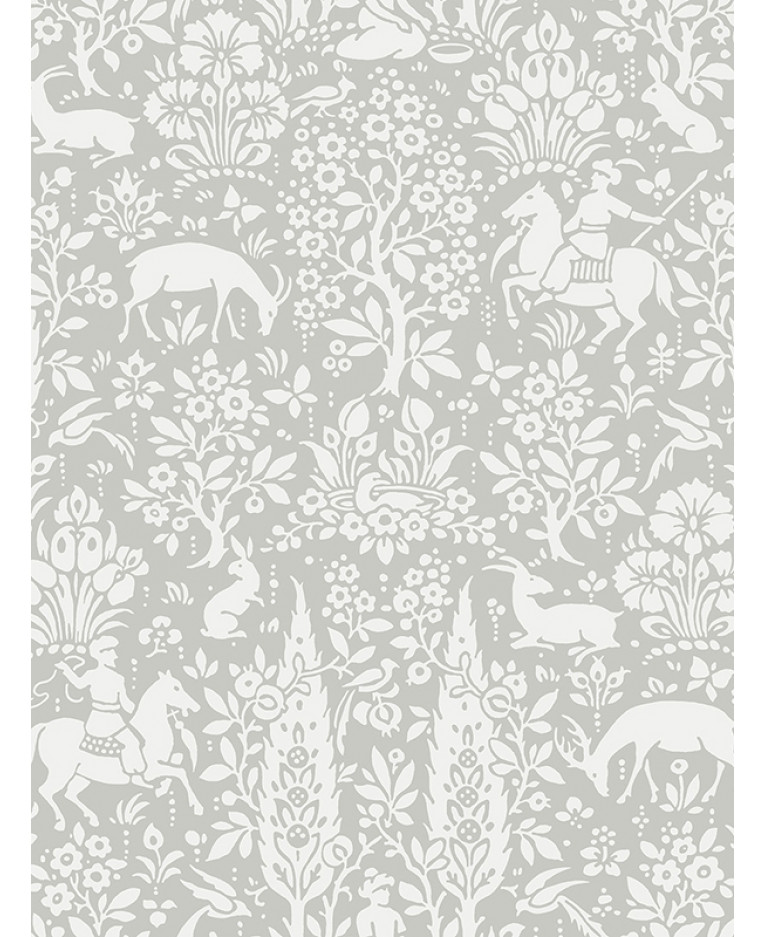 Crown Archives Woodland Wallpaper Grey M1168 Feature