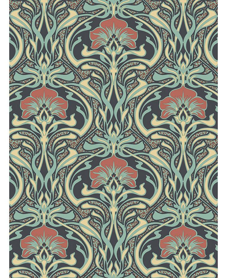 Crown Archives Flora Nouveau Wallpaper Peacock Green M1196