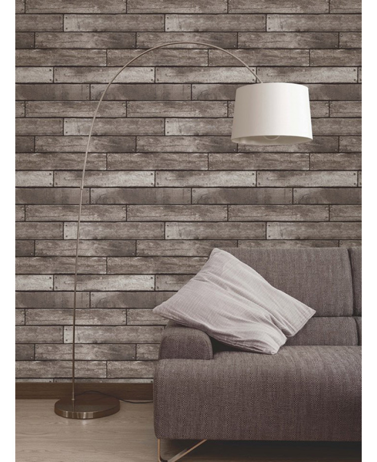 Dark brown and charcoal wooden plank effect wallpaper for Wooden wallpaper price