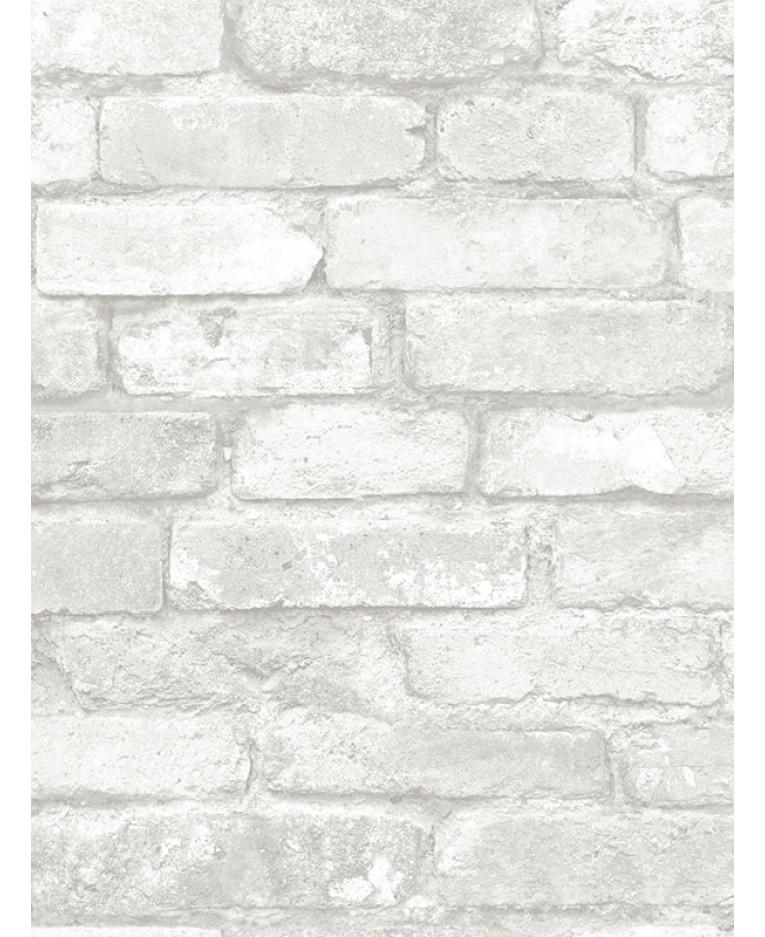 Nuwallpaper Grey And White Brick Peel And Stick Wallpaper Fine Decor Nu1653 5 5m X 0 52m