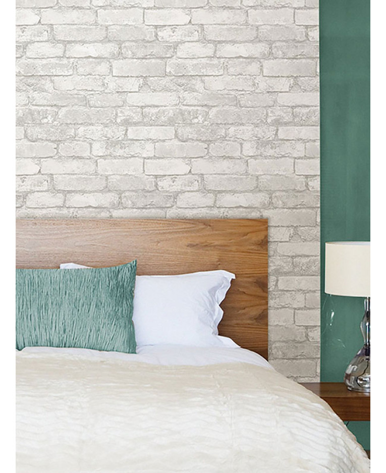 NuWallpaper Peel And Stick Grey And White Brick Wallpaper   NU1653