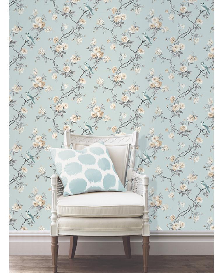 Chinoiserie bird wallpaper duck egg blue fine decor for Bird wallpaper home decor
