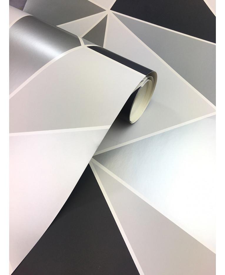 Apex Geometric Wallpaper Black And Silver Fine Decor Fd41994