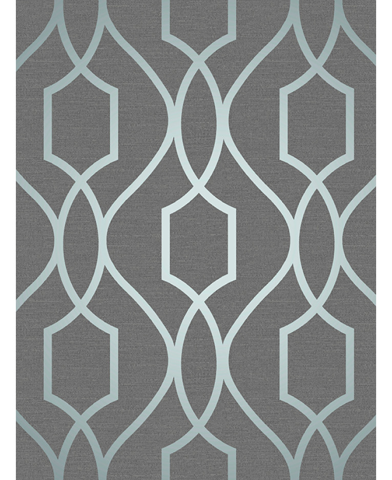 apex geometric trellis wallpaper slate grey and blue fine