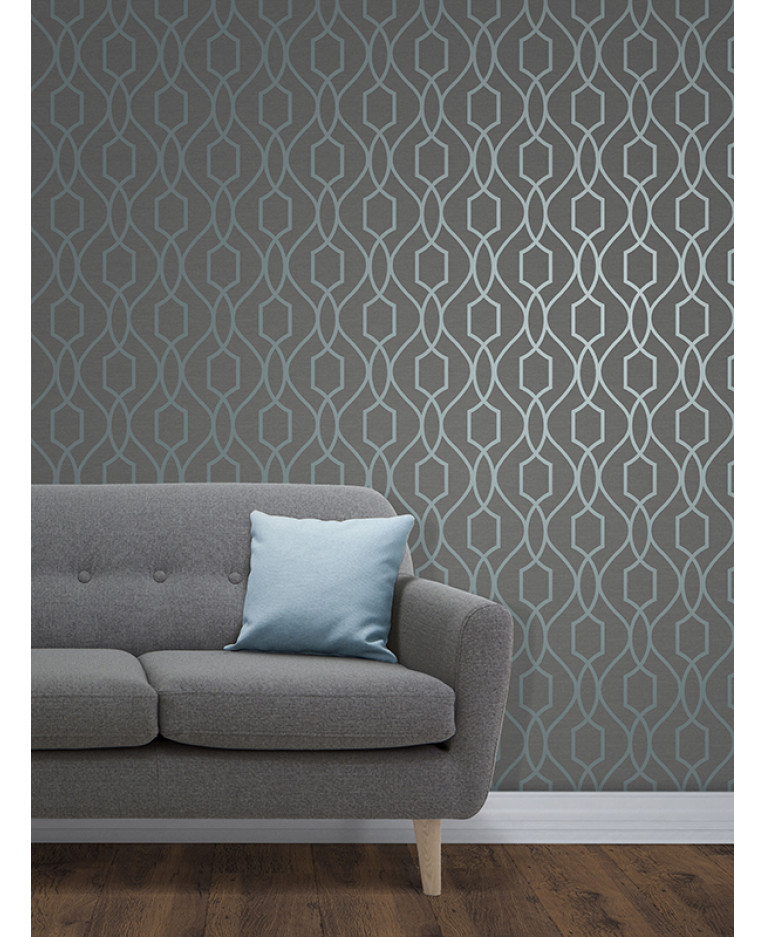 Trellis Wallpaper For Walls: Apex Geometric Trellis Wallpaper Slate Grey And Blue Fine