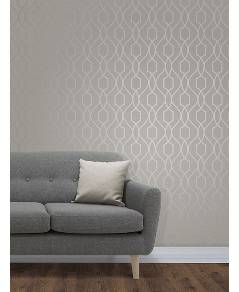 Apex geometric trellis wallpaper grey and taupe fine decor for Taupe decor