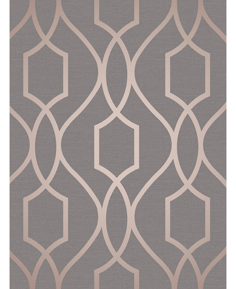 Apex Geometric Trellis Wallpaper Charcoal Grey And Copper