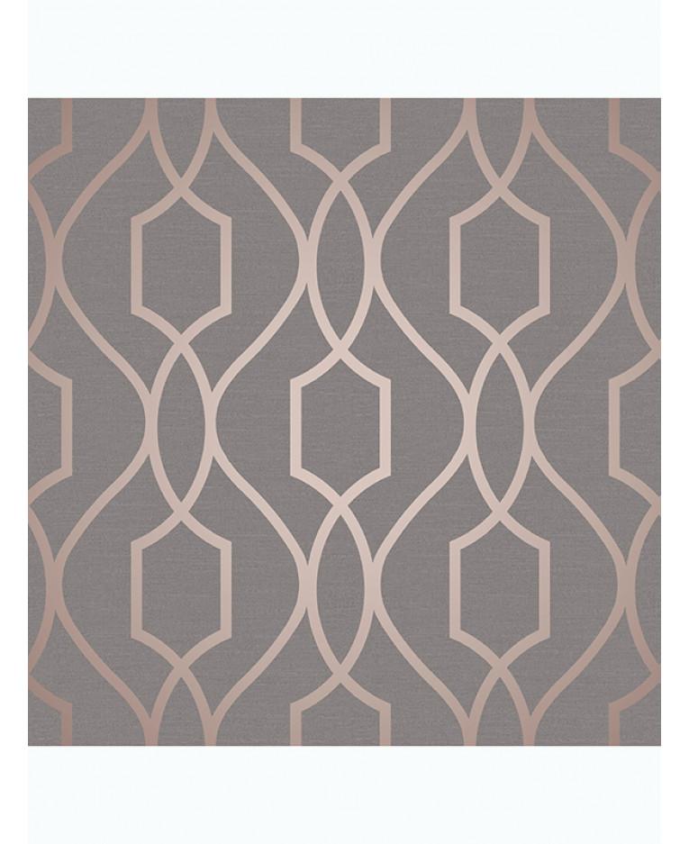 Apex Trellis Sidewall Wallpaper Copper: Apex Geometric Trellis Wallpaper Charcoal Grey And Copper
