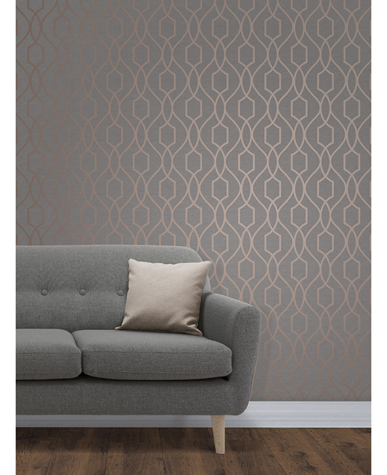 Apex geometric trellis wallpaper charcoal grey and copper for Wallpaper lounge feature wall