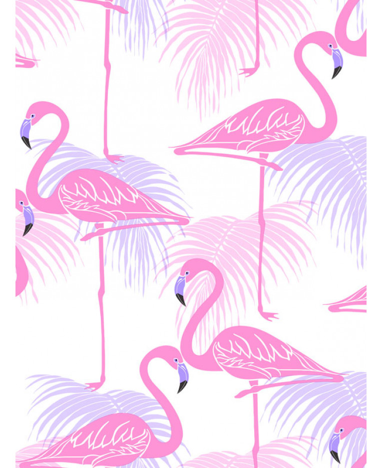Pink And Lilac Flamingo Palm Leaves Wallpaper Fine Decor Fd42214