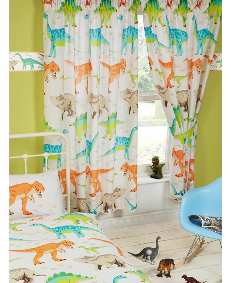Dinosaur World 66 X 54 Lined Curtains Tie Backs