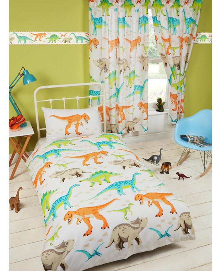 Dinosaur World Lined Curtains Bedroom Kids T Rex