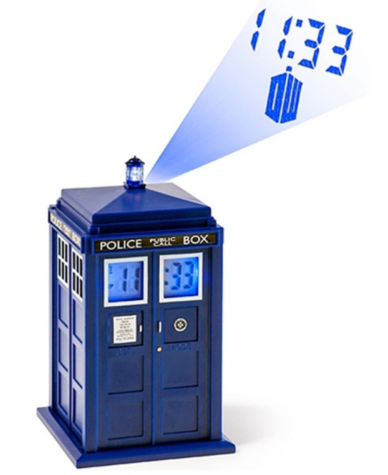 dr who tardis projection alarm clock. Black Bedroom Furniture Sets. Home Design Ideas