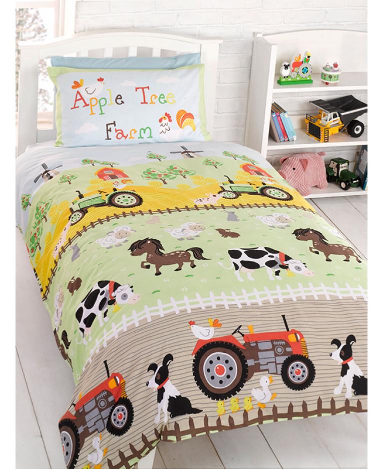 Apple Tree Farm Junior Duvet Cover, Farm Toddler Bedding Sets