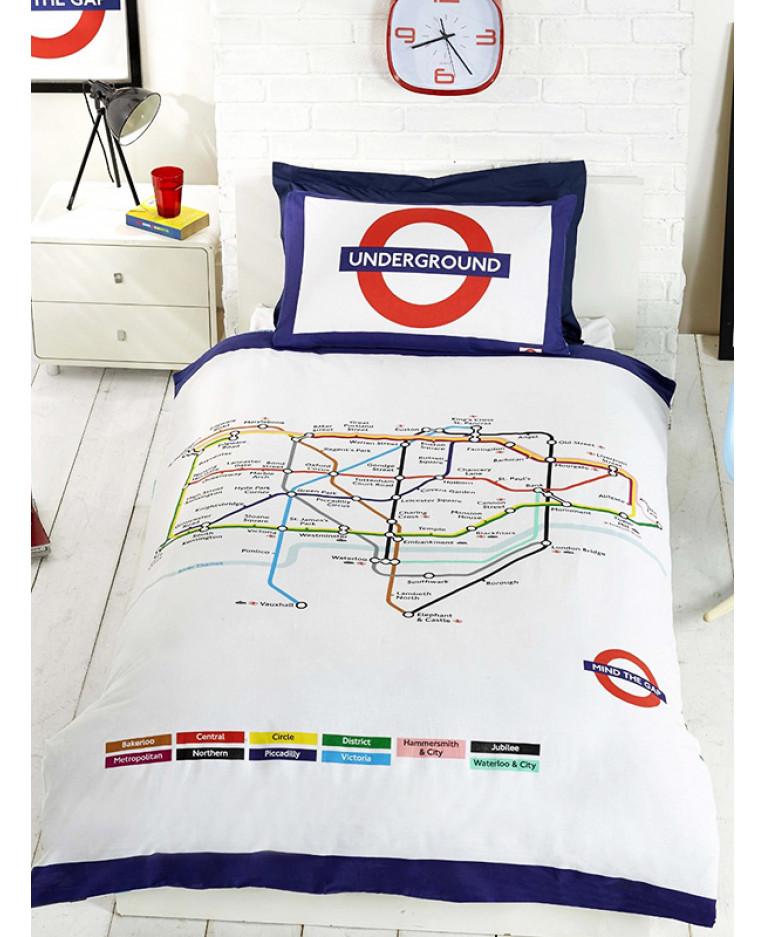LONDON UNDERGROUND TUBE MAP DUVET COVER