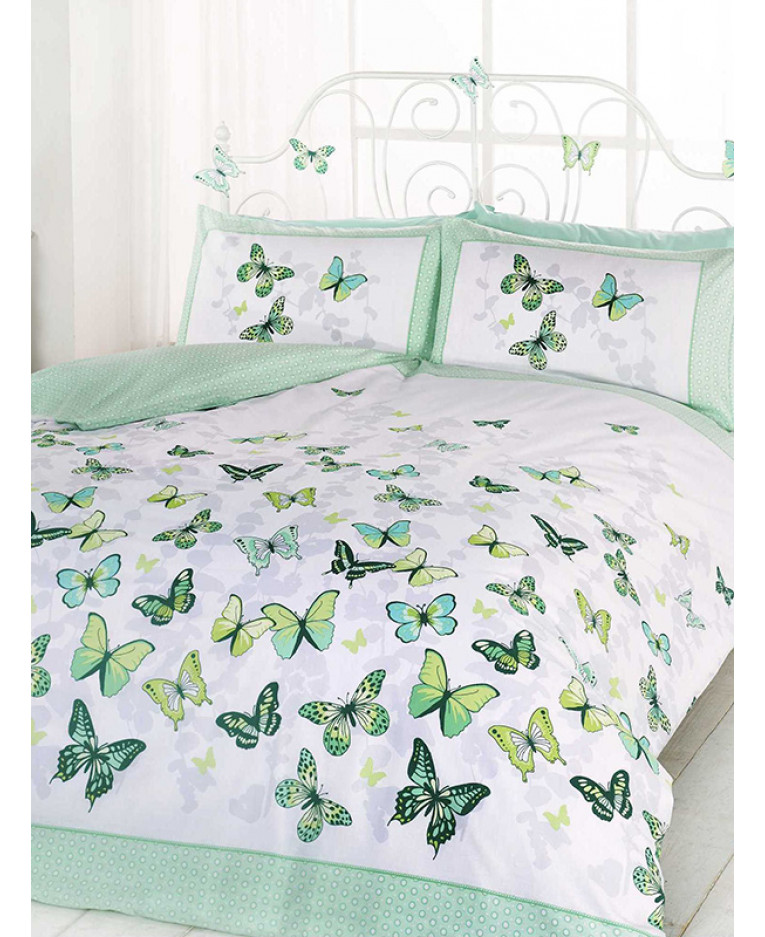 Copripiumino Con Farfalle.Set Copripiumino E Federa Singolo Flutter Farfalla Verde