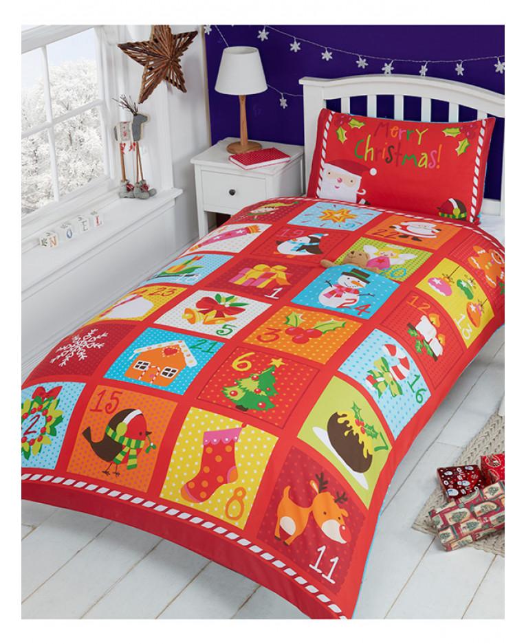 Advent Christmas Single Duvet Cover And Pillowcase Set