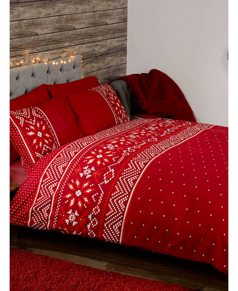 Nordic Christmas King Size Duvet Cover And Pillowcase Set