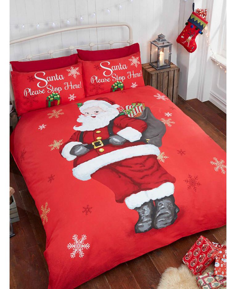Copripiumino Singolo Natalizio.Santa Stop Here Set Copripiumino E Federa Per Singolo Natale