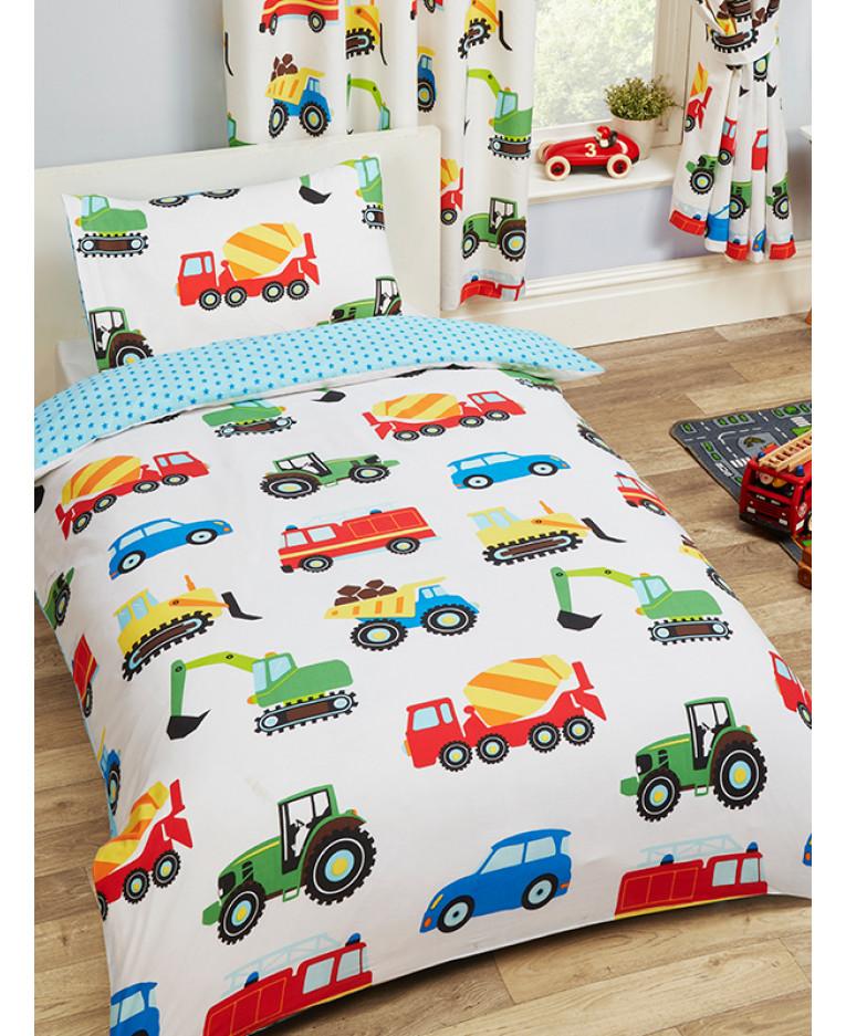 Trucks And Transport Single Duvet Cover And Pillowcase Set