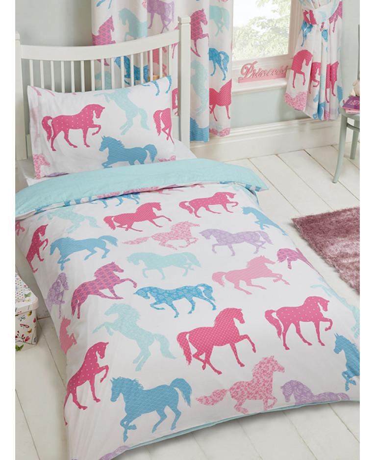 Patchwork ponies single duvet cover and pillowcase set - Kinderbett set ...