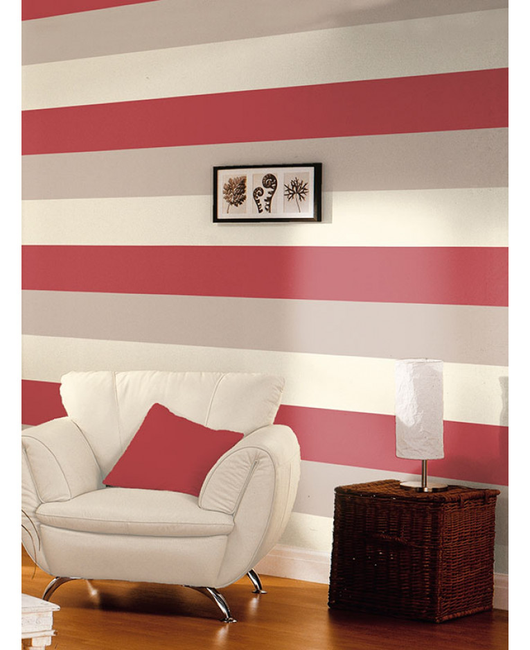 Stripe wallpaper red cream grey e40910 for Red and grey wallpaper for walls