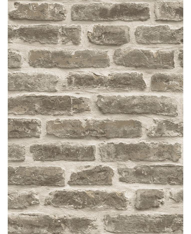 Rustic Brick Wallpaper Pale Brown J34407