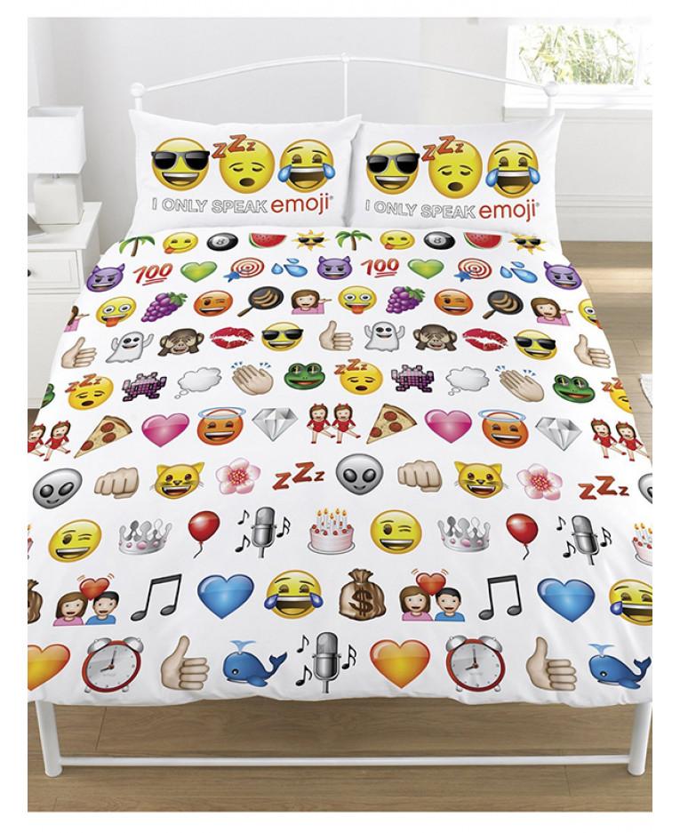 White Reversible Emoji Duvet Cover