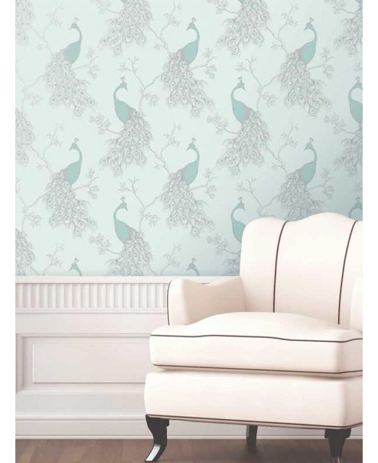 Empress Peacock Wallpaper Duck Egg And Teal FD - Duck egg blue bedroom wallpaper