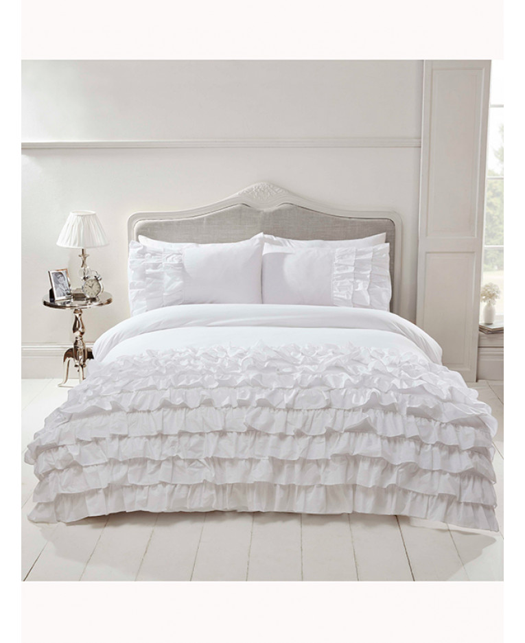 Flamenco Ruffle White Super King Duvet, White Super King Size Bedding Set