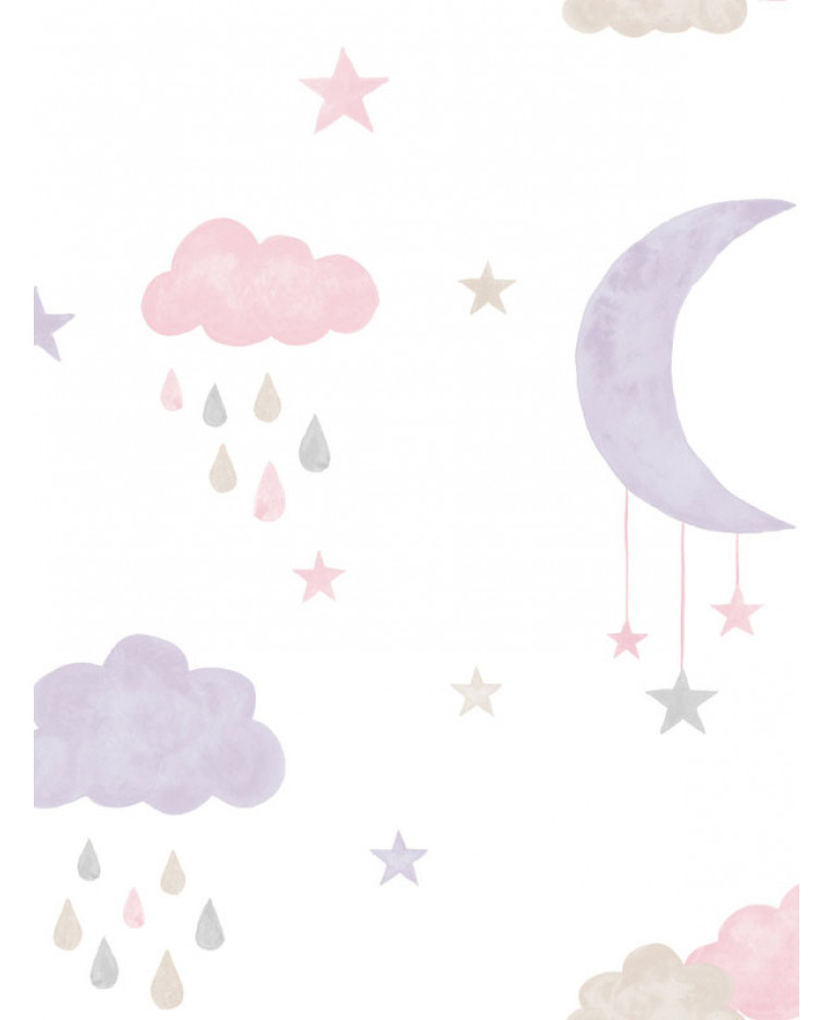 PINK GRANDECO LITTLE ONES ECO STARS WALLPAPER BLUE GREY YELLOW