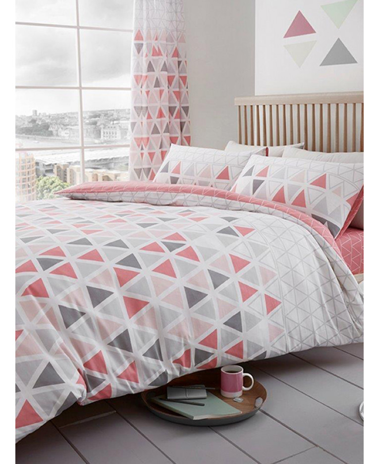 Geometric Triangle Double Duvet Cover And Pillowcase Set Pink