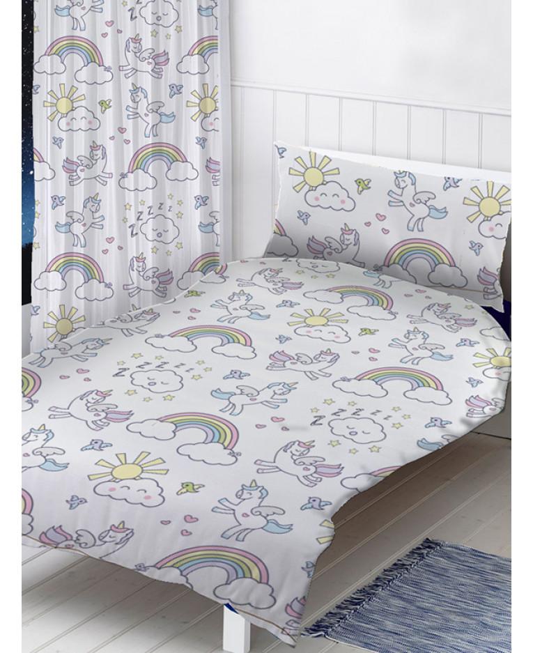 Pastel Unicorns 4 In 1 Junior Bedding Bundle Set Duvet