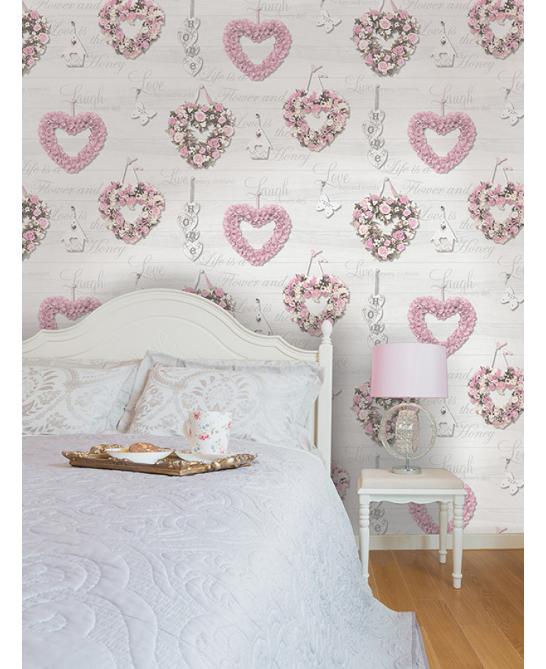 Holden gracie floral hearts wallpaper pink grey 12020 for Pink and grey wallpaper
