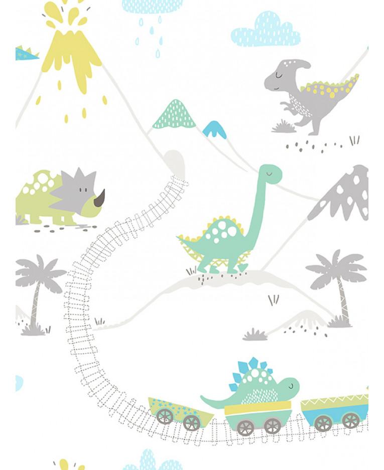 Dino Town Dinosaur Wallpaper Grey Teal Holden 12531