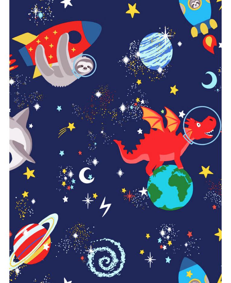 Over The Rainbow Space Animals Glow In The Dark Wallpaper Navy