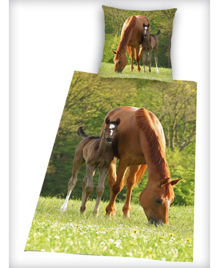 Copripiumino Singolo Con Cavalli.Set Copripiumino E Federa Per Cavallo E Puledro