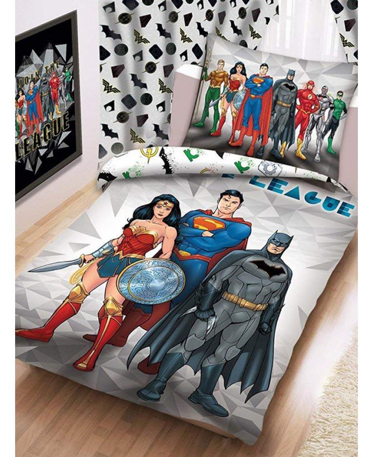Copripiumino Superman.Set Copripiumino E Federa Della Justice League Biancheria Da