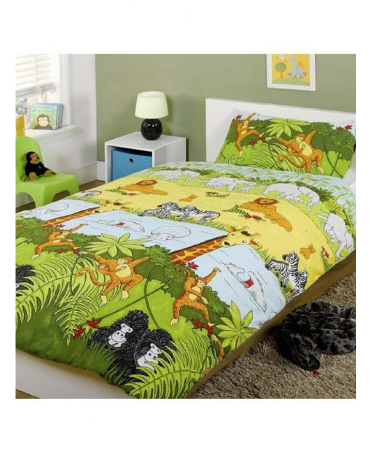 Jungle animals junior duvet cover and pillowcase set for Classic jungle house for small animals