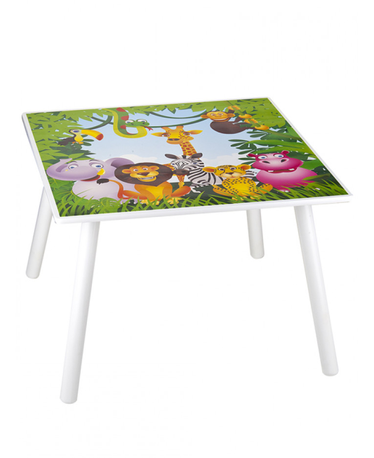 Jungle animals wooden table and chairs for Table design jungle