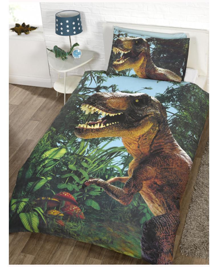 Jurassic T Rex Dinosaur Single Duvet Cover Set Bedroom