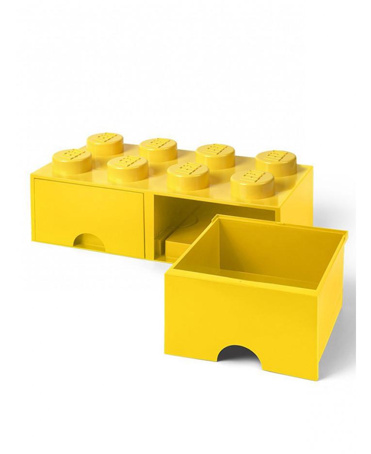 Yellow Lego Brick Storage Box 8 With 2 Drawers