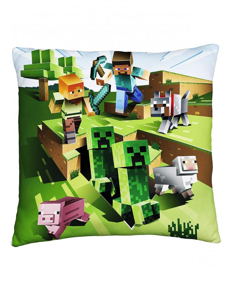 Minecraft Coussin carr/é /à deux c/ôt/és Creeps Parfait pour toute chambre denfant ou chambre /à coucher